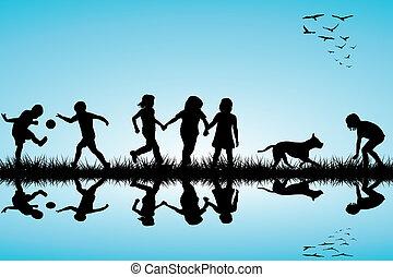 gyerekek, külső, csoport, kutya, játék