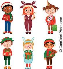 gyerekek, karácsony, jelmezbe öltöztet