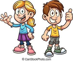 gyerekek, karikatúra