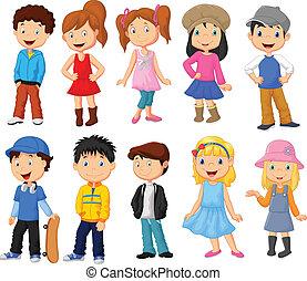 gyerekek, karikatúra, gyűjtés, csinos