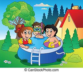 gyerekek, kert, pocsolya, karikatúra