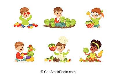 gyerekek, kevés, növényi, vektor, játék, állhatatos