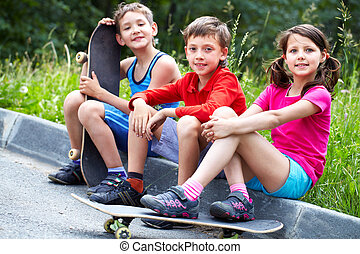 gyerekek, korcsolyázó