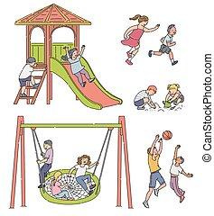 gyerekek, -, lány, karikatúra, elszigetelt, állhatatos, fiú, játék, játszótér