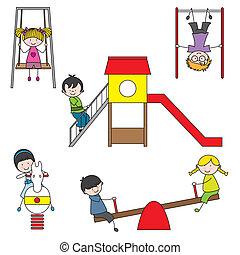 gyerekek, liget, játék