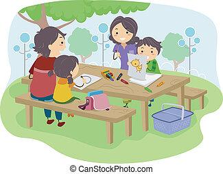 gyerekek, liget, rajz, család
