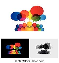 gyerekek, média, társadalmi, beszéd, vektor, kommunikáció icon, gyűlés, vagy, bot