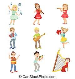 gyerekek, műszerek, állhatatos, zene, éneklés, játék