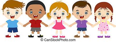 gyerekek, multicultural, csinos