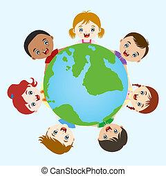 gyerekek, multicultural, kéz