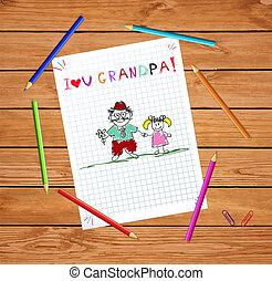 gyerekek, nagyapó, együtt., ábra, granddughter