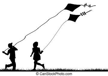 gyerekek, papírsárkány