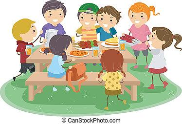 gyerekek, piknik