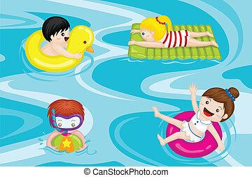 gyerekek, pocsolya, úszás