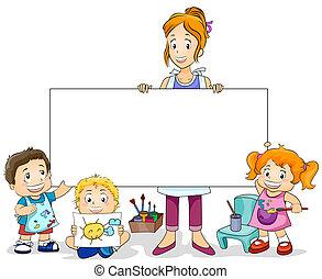 gyerekek, rajzóra osztály