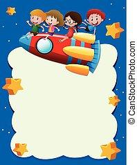 gyerekek, rakéta, hely, sablon, lovaglás, határ