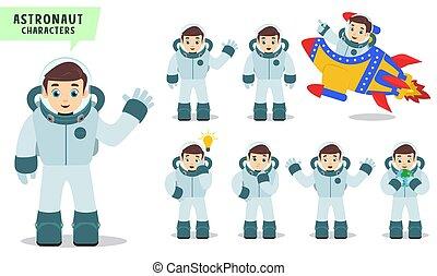 gyerekek, rakéta, set., betű, beszéd, vektor, űrhajós, lovaglás