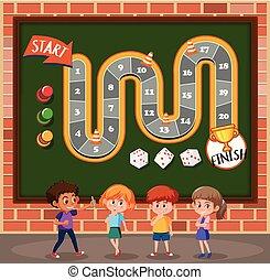 gyerekek, sablon, boardgame