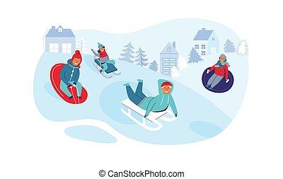gyerekek, sledding., emberek, tél, lány, ábra, játék, snow., fiú, holidays., vektor, betűk, szabadban, móka, birtoklás, boldog