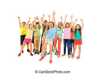 gyerekek, sok, emelkedik, éljenzés, kézbesít, boldog
