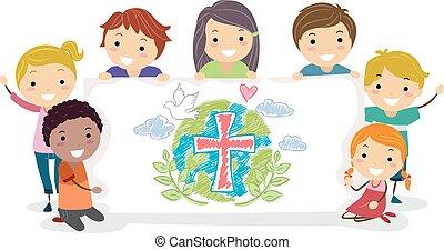 gyerekek, stickman, ábra, csoport, transzparens, keresztények