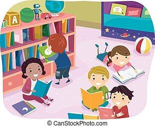 gyerekek, stickman, felolvasás, preschool, idő