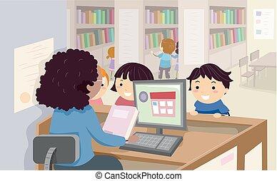 gyerekek, stickman, kölcsönkér, library előjegyez, ábra