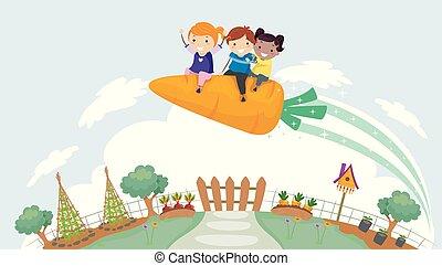 gyerekek, stickman, kert, rakéta, ábra, sárgarépa