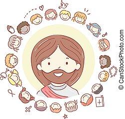 gyerekek, stickman, krisztus, jézus