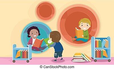 gyerekek, stickman, modern, könyvtár, ábra, hüvely