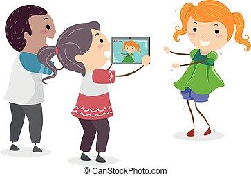 gyerekek, stickman, mozgatható, ábra, feljegyzés, video