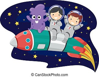 gyerekek, stickman, rakéta