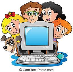 gyerekek, számítógép, kutya, karikatúra