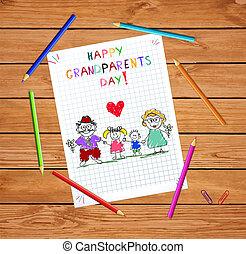 gyerekek, színes, nagyszülők, ábra, kéz, vektor, grandparends, húzott, gyerekek, nap