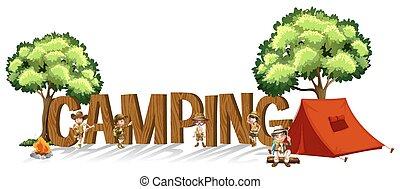 gyerekek, szó, kempingezés, tervezés, betűtípus, sátor