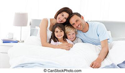 gyerekek, szülők, -eik, ágy, boldog