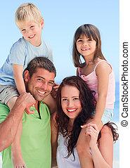 gyerekek, szülők, -eik, játék, boldog