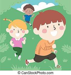 gyerekek, szabadban, futás, ábra