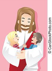 gyerekek, szeret, jézus