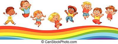 gyerekek, szivárvány, szeret, trampoline ugrás