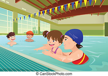 gyerekek, szobai, feladat, birtoklás, pocsolya, úszás