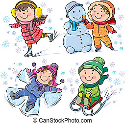 gyerekek, tél