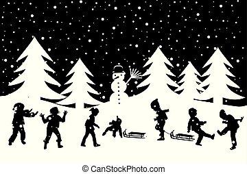 gyerekek, tél, hó, köszönés, fekete, fehér, játék kártya