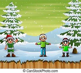 gyerekek, tél, játék külső rész