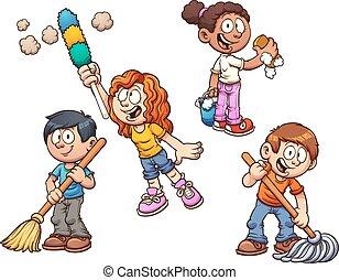 gyerekek, takarítás