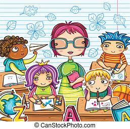 gyerekek, tanár, csinos
