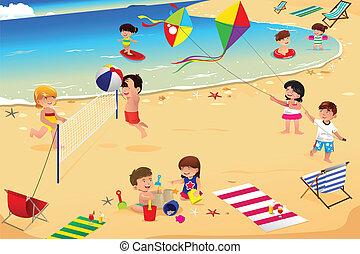 gyerekek, tengerpart