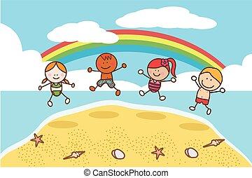 gyerekek, tengerpart, ugrás, boldog