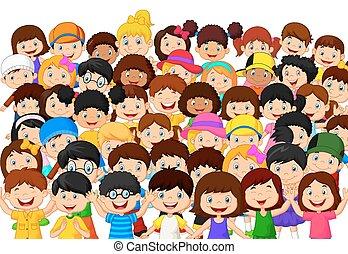 gyerekek, tolong, karikatúra
