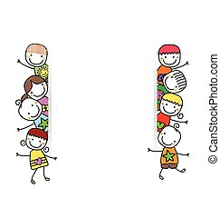 gyerekek, transzparens, boldog